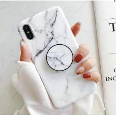 ست قاب و کاور ایرپاد سفید سنگی به همراه پاپ سوکت apple iphone 6-6s-6p-6sp-7-8-7p-8p-x-xs-xsmax-xr-11-11pro-11promax