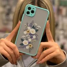 قاب محافظ لنزدار پشت مات طرح گل دور آبی apple iphone 6p-6sp-x-xs-xr-xsmax-11pro-11promax
