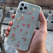 قاب ژله ای بی رنگ با گل های طبیعی صورتی Apple iphone 6p-6sp-7-8-se2020-7p-8p-x-xs-xr-xsmax-11-11pro-11promax