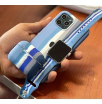 ست قاب،بند ساعت و کاور ایرپاد سیلیکون رنگین کمان طیف آبی Apple iphone 7-8-se2020-7p-8p-x-xs-xsmax-11-11pro-11promax-12mini-12-12pro-12promax