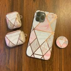 ست قاب و کاور ایرپاد کاشی ماربل لوزی  به همراه پاپ سوکت apple iphone 6-6s-6p-6sp-7-8-se2020-7p-8p-x-xs-xsmax-xr-11-11pro-11promax-12-12pro-12promax