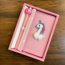 پكيج دفترچه خاطرات به همراه خودنويس اسب تک شاخ طرح 4