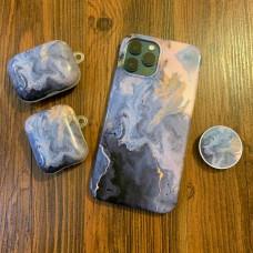 ست قاب و کاور ایرپاد سنگی با رگه های طلایی به همراه پاپ سوکت apple iphone 6-6s-6p-6sp-7-8-se2020-7p-8p-x-xs-xsmax-xr-11-11pro-11promax-12-12pro-12promax