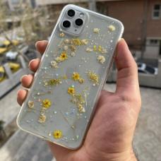 قاب ژله ای بی رنگ با گل های طبیعی زرد Apple iphone 6-6s-6p-6sp-7-8-se2020-7p-8p-x-xs-xr-11-11pro-11promax