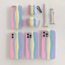 ست قاب،بند ساعت و کاور ایرپاد سیلیکون رنگین کمانی Apple iphone 7-8-se2020-7p-8p-x-xs-xsmax-11-11pro-11promax-12mini-12-12pro-12promax