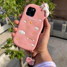 قاب اسب تک شاخ لاکی صورتی سیلیکونی برجسته همراه بند آویز بلند و آویز اسب تک شاخ Apple iphone 6-6s-6p-6sp-7-8-se2020-7p-8p-x-xs-xr-xsmax-11-11pro-11promax-12-12pro-12promax