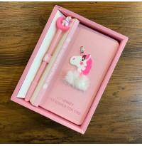 پكيج دفترچه خاطرات به همراه خودنويس اسب تک شاخ طرح 3