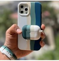 ست قاب،بند ساعت و کاور ایرپاد سیلیکون رنگین کمان دریایی Apple iphone 7-8-se2020-7p-8p-x-xs-xsmax-11-11pro-11promax-12mini-12-12pro-12promax