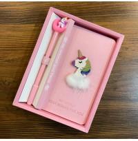 پكيج دفترچه خاطرات به همراه خودنويس اسب تک شاخ طرح 1