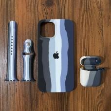 ست قاب،بند ساعت و کاور ایرپاد سیلیکون رنگین کمان مشکی Apple iphone 6-6s-6p-6sp-7-8-se2020-7p-8p-x-xs-xr-xsmax-11-11pro-11promax-12-12pro-12promax