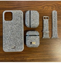 ست قاب،بند ساعت و کاور ایرپاد Swarovski سواروسکی سیلور Apple iphone 11-11promax-12-12pro-12promax