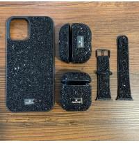 ست قاب،بند ساعت و کاور ایرپاد Swarovski سواروسکی مشکی Apple iphone 11-11promax-12-12pro-12promax