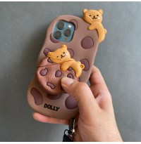 ست قاب و کاور ایرپاد خرس شکلاتی به همراه بند و آویز ست Apple iphone 6-6s-6p-6sp-7-8-se2020-7p-8p-x-xs-xr-xsmax-11-11pro-11promax-12-12pro-12promax