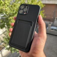 قاب ژله ای محافظ لنزدار به همراه جاکارتی مشکی Apple iphone 7-8-se2020-7p-8p-x-xs-11-11pro-11promax-12-12pro-12promax
