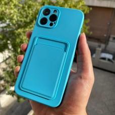 قاب ژله ای محافظ لنزدار به همراه جاکارتی آبی Apple iphone 7-8-se2020-7p-8p-x-xs-11-11pro-11promax-12-12pro-12promax