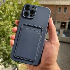قاب ژله ای محافظ لنزدار به همراه جاکارتی سرمه ای Apple iphone 7-8-se2020-7p-8p-x-xs-11-11pro-11promax-12-12pro-12promax