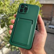 قاب ژله ای محافظ لنزدار به همراه جاکارتی سبز تیره Apple iphone 7-8-se2020-7p-8p-x-xs-11-11pro-11promax-12-12pro-12promax