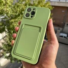 قاب ژله ای محافظ لنزدار به همراه جاکارتی سبز روشن Apple iphone 7-8-se2020-7p-8p-x-xs-11-11pro-11promax-12-12pro-12promax