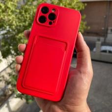 قاب ژله ای محافظ لنزدار به همراه جاکارتی قرمز Apple iphone 7-8-se2020-7p-8p-x-xs-11-11pro-11promax-12-12pro-12promax