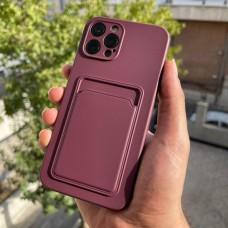 قاب ژله ای محافظ لنزدار به همراه جاکارتی زرشکی Apple iphone 7-8-se2020-7p-8p-x-xs-11-11pro-11promax-12-12pro-12promax