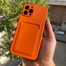 قاب ژله ای محافظ لنزدار به همراه جاکارتی نارنجی Apple iphone 7-8-se2020-7p-8p-x-xs-11-11pro-11promax-12-12pro-12promax