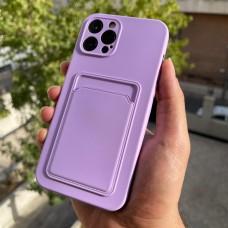 قاب ژله ای محافظ لنزدار به همراه جاکارتی یاسی Apple iphone 7-8-se2020-7p-8p-x-xs-11-11pro-11promax-12-12pro-12promax