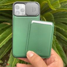 قاب چرمی محافظ لنزدار کشویی به همراه جاکارتی مگ سیف HDD(اورجینال) Apple iphone 12-12pro